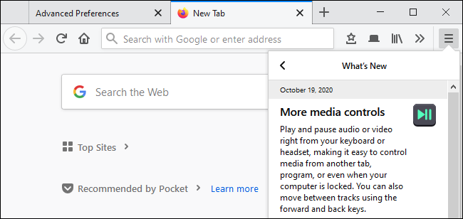 Firefox advertising new media controls