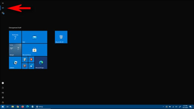 A full screen Start menu in Windows 10
