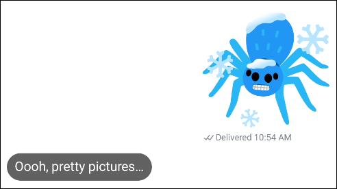 A spider emoji mash-up in a text conversation.
