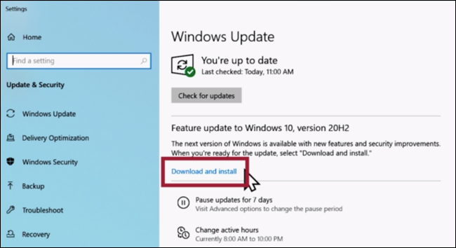 "Click ""Download and install"" in Windows Update"