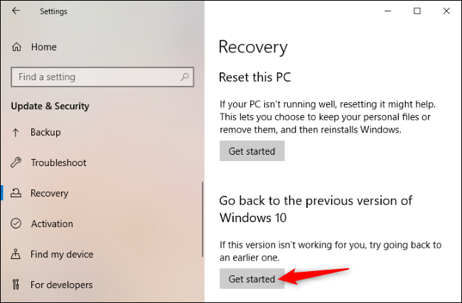 """Click """"Get started"""" to go back to the old version of Windows 10"""