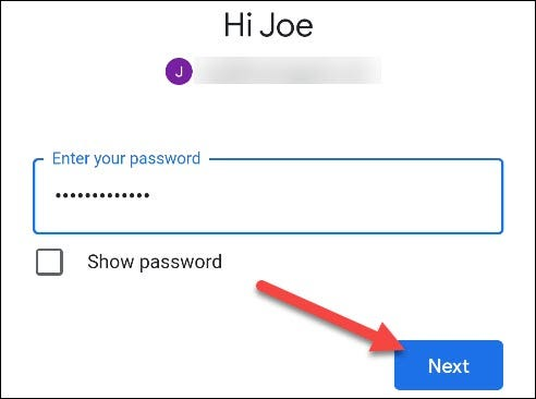 enter your google account credentials