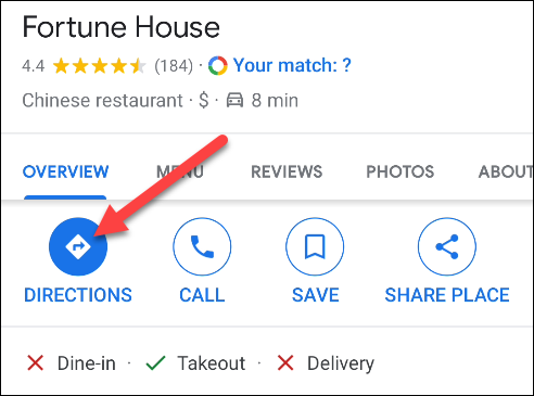 select a location and start directions