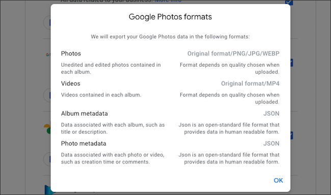 Check file formats of Google Photos data export