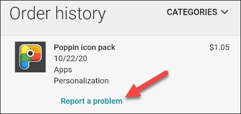 select report a problem