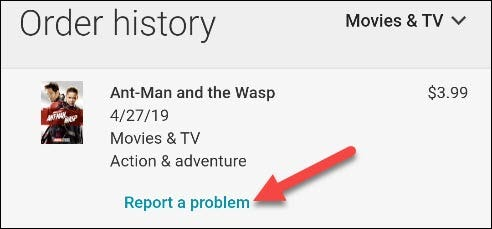 click report a problem