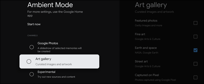 ambient mode options