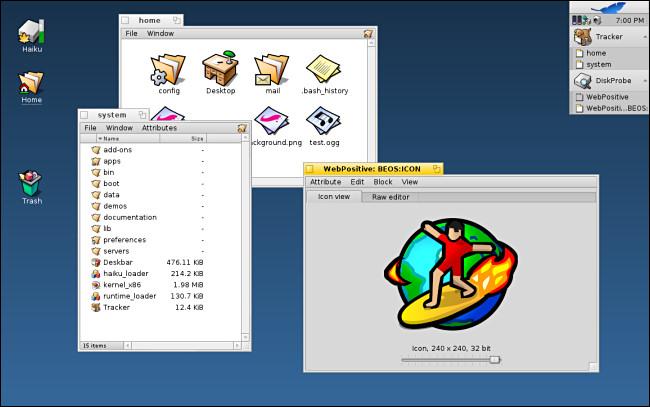 Several windows open on Haiku OS.