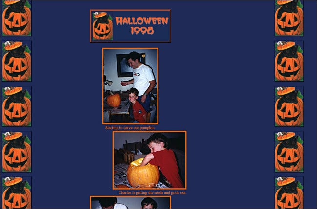 "Two photos of a father and son carving a pumpkin on the ""Halloween 1998"" GeoCities website."
