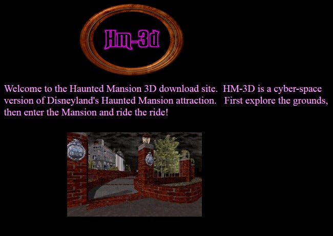 The HM-3D website featuring a map of the Disney Haunted Mansion ride on GeoCities.