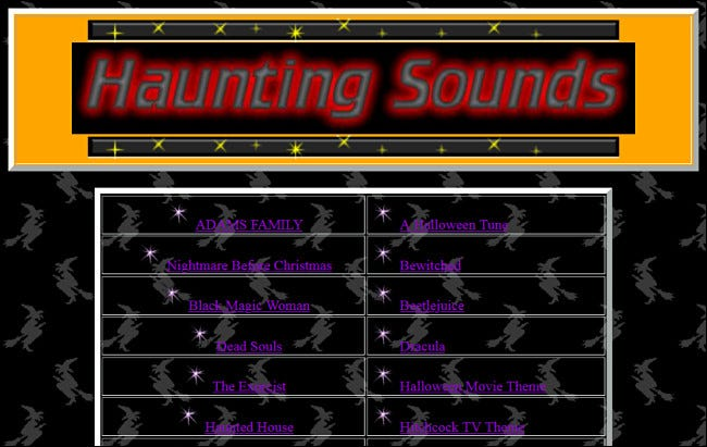 Links to Halloween songs on the Haunting Sounds website.
