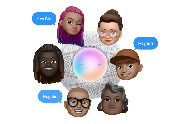 "Six characters surrounding a HomePod mini, with ""Hey Siri"" speak bubbles."