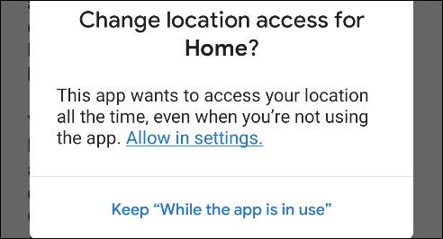 Grant location permission for Google Home.