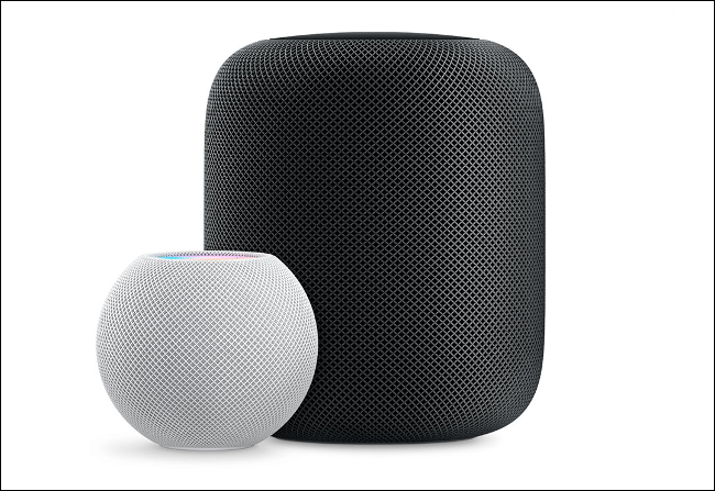 A white HomePod mini sitting next to a black HomePod.