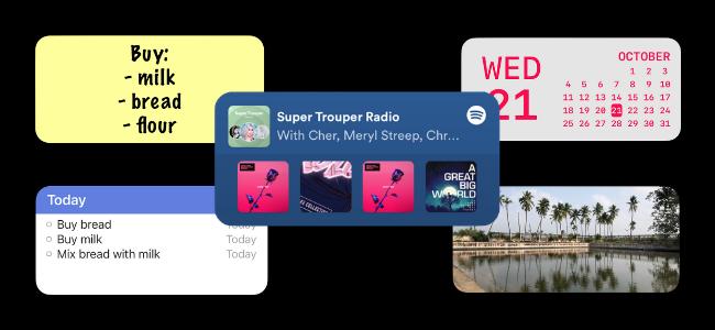 Five iPhone Home screen widgets.