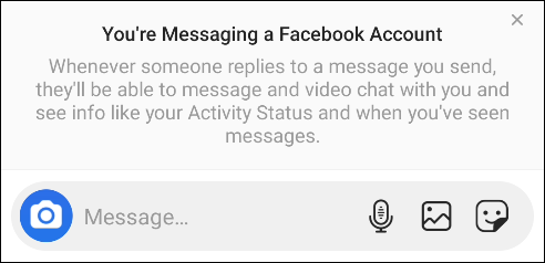 """The """"You're Messaging a Facebook Account"""" pop-up."""
