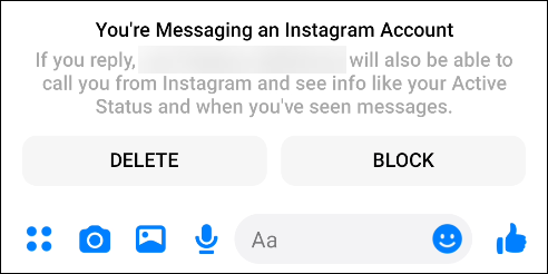"""The """"You're Messaging an Instagram Account"""" pop-up in Facebook Messenger."""