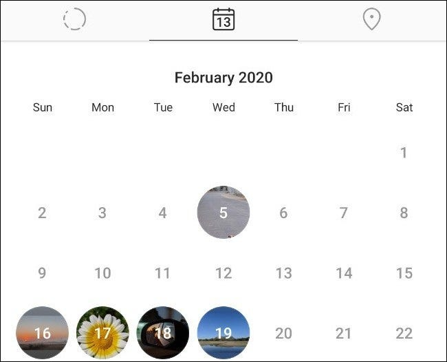 The Stories calendar view in Instagram.