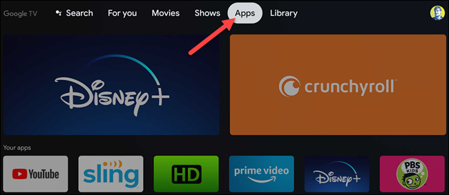 """Select """"Apps."""""""