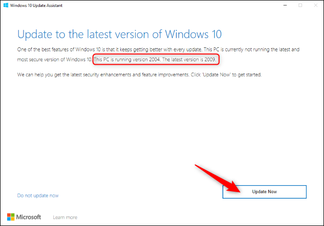 "Click ""Update Now"" in the Windows 10 Update Assistant."