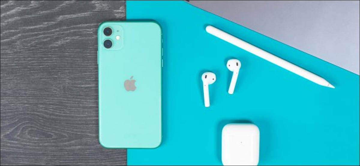 An iPhone, iPad, AirPods, and Apple Pencil