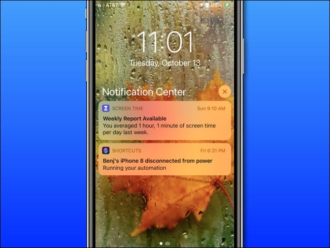 An example of Notification Center on iPhone
