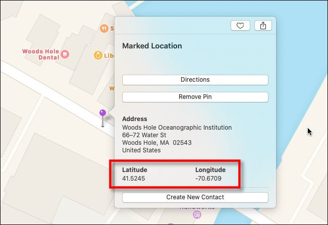 In the marked location info window on Apple Maps on Mac, you'll see the latitude and longitude.