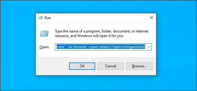 Launching Steam with the no-browser command using the Run dialog