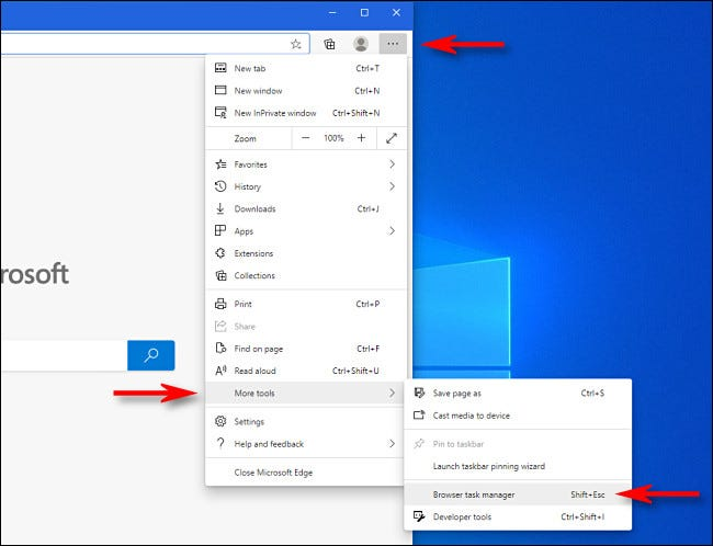 """To open Edge's Task Manager, click the ellipses button, then select """"More tools,"""" then click """"Browser Task Manager."""""""