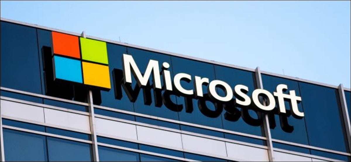 The Microsoft logo on an office building