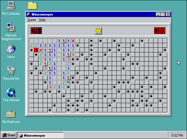 """""""Minesweeper"""" in Expert mode on Windows 95."""