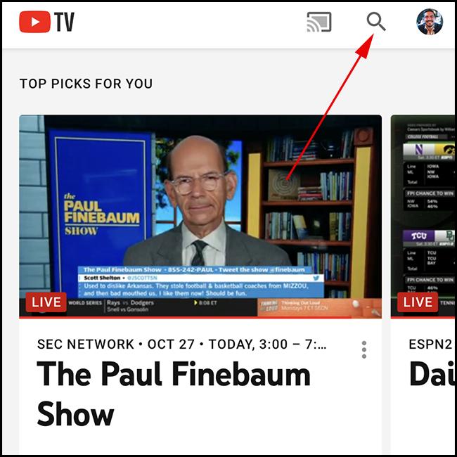 Tela inicial do YouTube TV.  Toque no ícone de pesquisa.