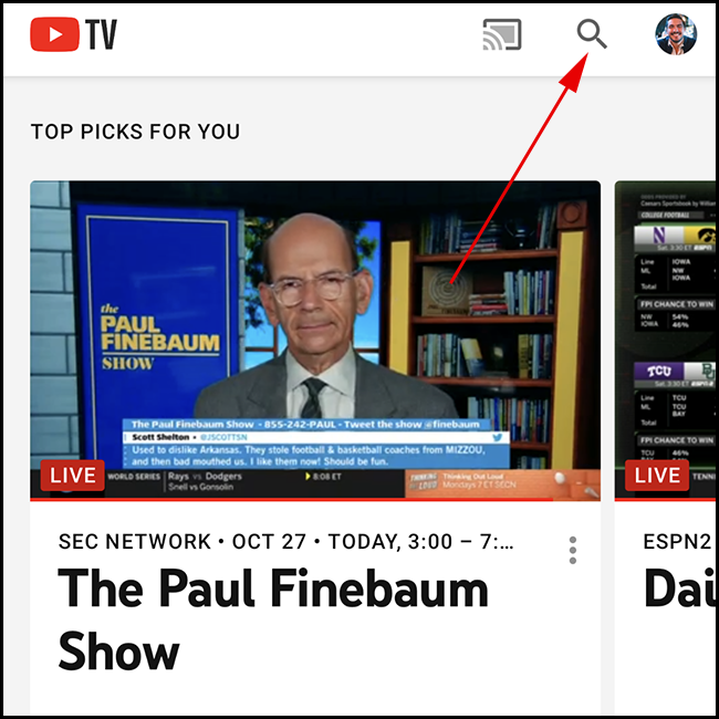 YouTube TV home screen. Tap the search icon.