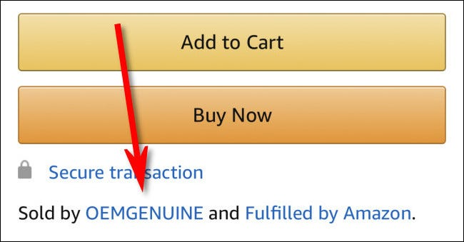 "A listing for a product ""Sold by OEMGENUINE and Fulfilled by Amazon"" in the Amazon App."