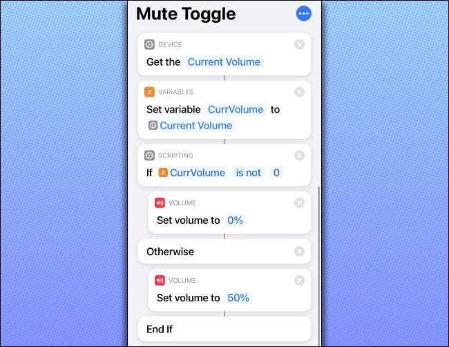 "The ""Mute Toggle"" shortcut code on an iPhone."