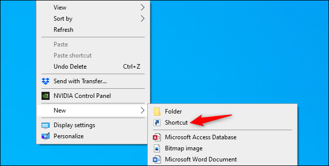 Select New > Shortcut in the context menu