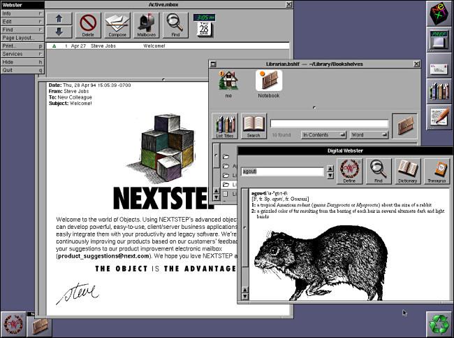 Three windows open on a NeXTSTEP 3.3 desktop.