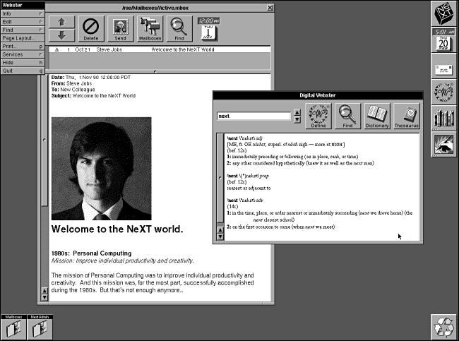An email from Steve Jobs on a NeXTSTEP 2.0 computer.