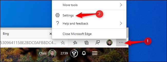 Click menu > Settings in Edge