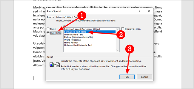 microsoft word paste special