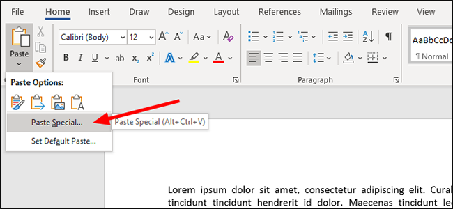 microsoft word paste speciale