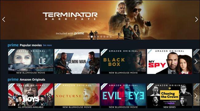 Amazon Prime Video's website