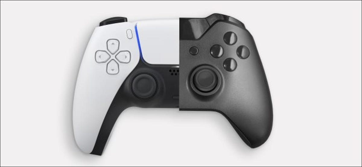 A PlayStation 5 and Xbox Series X controller.