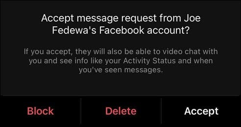 A pop-up on Instagram that you've received a message from Facebook.