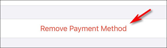 "Tap ""Remove Payment Method"""