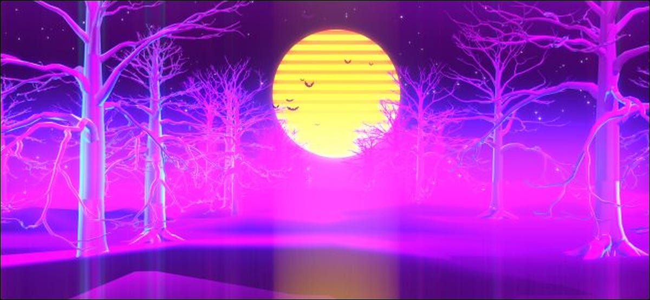 A retro Halloween desktop background of bats flying past the moon.