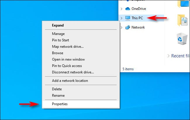 """Right-click """"This PC"""" in File Explorer and select """"Properties."""""""