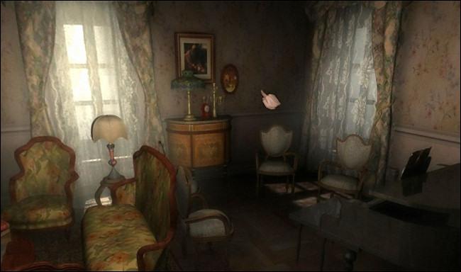 "A Victorian parlor scene in ""Scratches."""