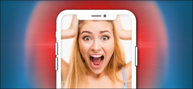 A picture of a woman screaming on an iPhone.