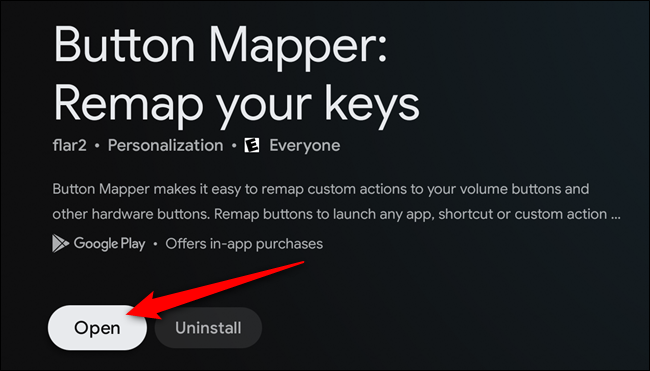 """Select the """"Open"""" button once the Button Mapper app is installed"""